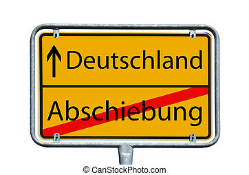 Deportation - sign with the german words Germany and...