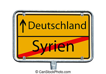 Germany and Syria - sign with the german words Germany and...