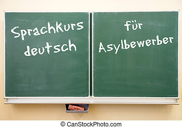 Language Course - Sign with the german words German language...
