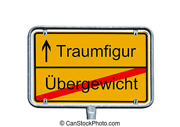 dream figure - Sign with the german words dream figure and...