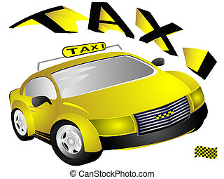 The yellow taxi car and text on white background