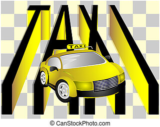 The taxi - Modern car taxi and text on light background