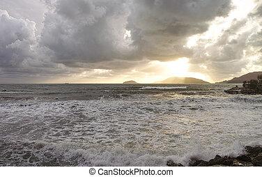 storm in lerici a very beautiful plave near la spezia