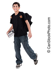 Handsome teenager boy student with books in hand