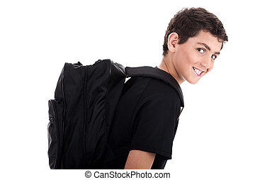 Side pose of student with school bag