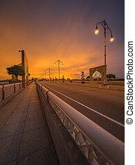 Landscape of modern bridge at sunrise, Putrajaya Kuala...