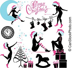 Set of Christmas silhouette fairy girls with gifts, presents, snow flakes and stars isolated on white background.