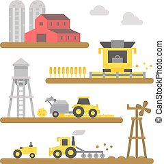 Farm land machineries flat design illustration vector