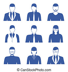 Male and female faces icons, avatars Business people - Male...