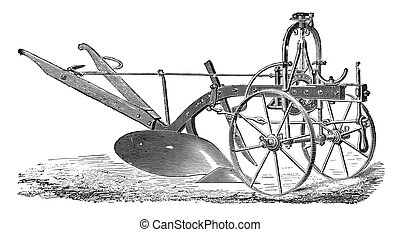 Wheeled plow with iron age, Didelot abbe, vintage engraving....