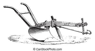 American plow Eckert, vintage engraving. - American plow...