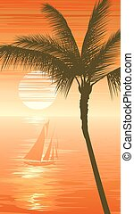 Sunset sea background with yacht. - Vertical illustration of...