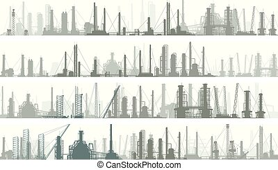 Banners industrial part of city. - Set of horizontal banners...
