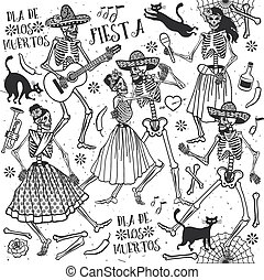 Dia de los Muertos - Day of the Dead . The skeleton dance.