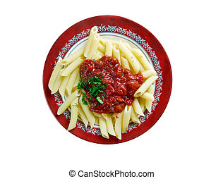 Penne with arrabiata - Penne pasta with sauce arrabiata....
