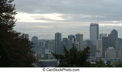 Downtown Seattle morning - pan