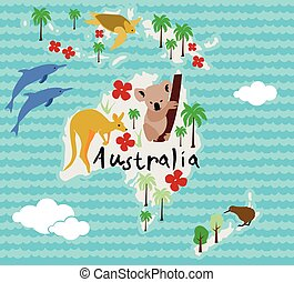 Animal cartoon map Australia - Animal cartoon map Australia...