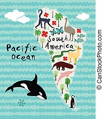Animal Cartoon map of South America - Animal cartoon map of...