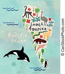 Animal cartoon map of South America. Vector illustration