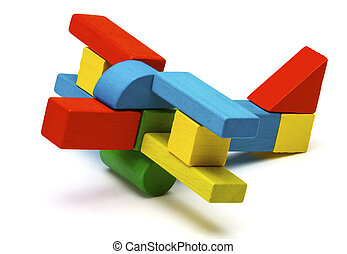 toy airplane, multicolor wooden blocks air plane white - toy...
