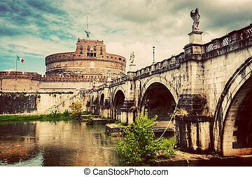 Castel Sant and 39;Angelo, Rome, Italy Tiber river and the...
