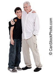 father embraces his son on isolated background