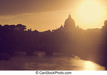 St Peter and 39;s Basilica, Vatican City Tiber river in...