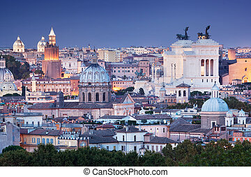 Ultra wide panorama of Rome, Italy. - Rome skyline at night,...