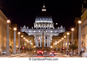 Vatican City St Peter and 39;s Basilica at night - Vatican...