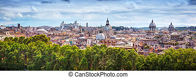 Panorama of the ancient city of Rome, Italy. As seen from...
