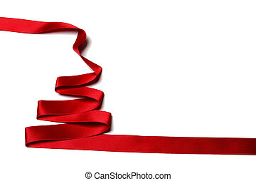 Ribbon christmas tree - Red Ribbon christmas fir tree...