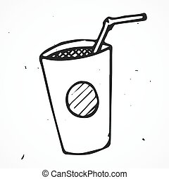 Paper fast food cup with tube hand drawn