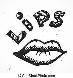 Sexy lips cartoon, hand drawn - Vector doodle sexy lips...