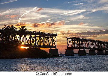 Rail bridge at Florida Keys - Sunset view of historic Rail...