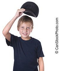 Caucasian boy wearing ball cap over white background