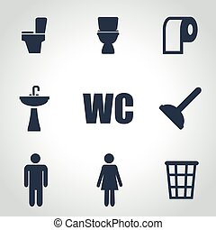 Vector black toilet icon set on grey background