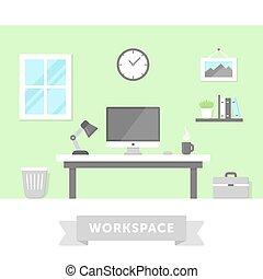 Workspace - Freelancer home workspace with desktop PC....
