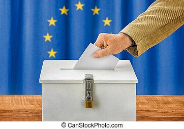 caja, unión, -, poniendo, hombre, votación, papeleta,...