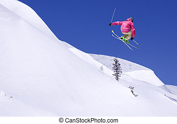 Extreme Skier in the jump