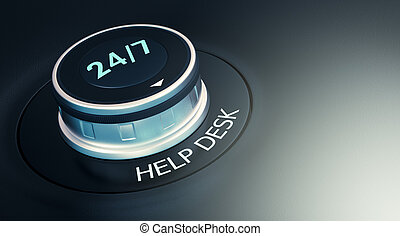 24 7 service concept - knob with 247 text Arrow pointing to...
