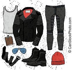 Fashion illustration. - Fashion illustration clothing set....