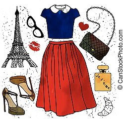 Fashion illustration Paris style outfit