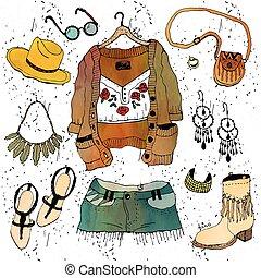 Fashion illustration clothing set. Boho chic style