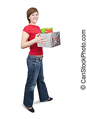 girl with present boxes over white