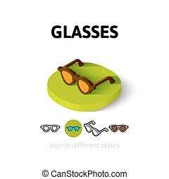 Glasses icon in different style