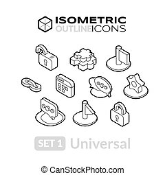 Isometric outline icons set 1
