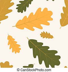 Vector seamless with autumn oak leaves - Vector seamless...