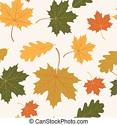 Vector seamless with autumn maple and oak leaves - Vector...