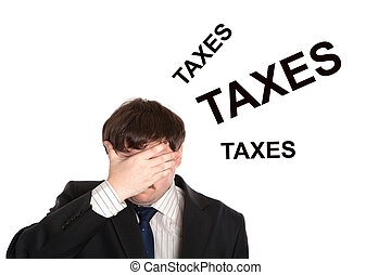 business in stress with title taxes on a white background