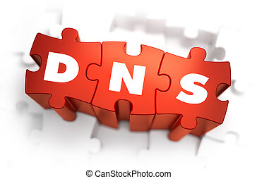 DNS - White Word on Red Puzzles. - DNS - Domain Name System...